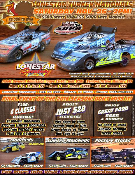 LoneStar TOPLESS SUPR TURKEY NATIONALS - SAT. NOV. 26!