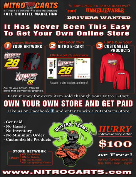 Online Merchandise offered to Drivers and Tracks