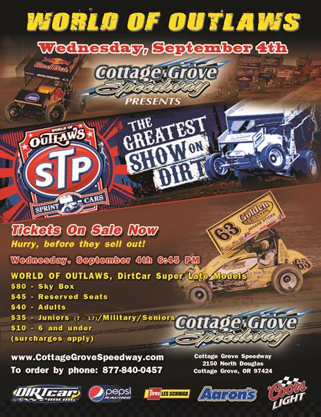 WORLD OF OUTLAWS AT COTTAGE GROVE REMINDER