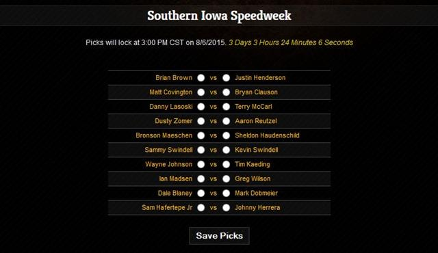20 drivers | 10 matchups! Southern Iowa Speedweek Fantasy Open Now!