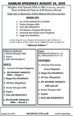 8/24/19 Hamlin Schedule of Events - The Official Website of