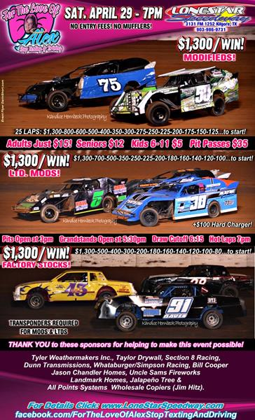 TRIPLE $1,300/win FEATURES on deck APRIL 29th