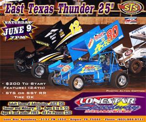"""East Texas Thunder 25"""" – June 9 at LoneStar Speedway"""