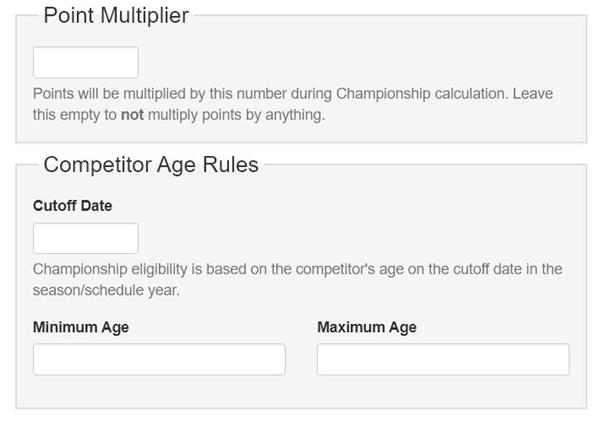 Competitor Age Rules