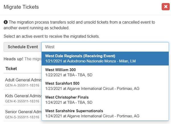 Migrate Tickets Event Finder