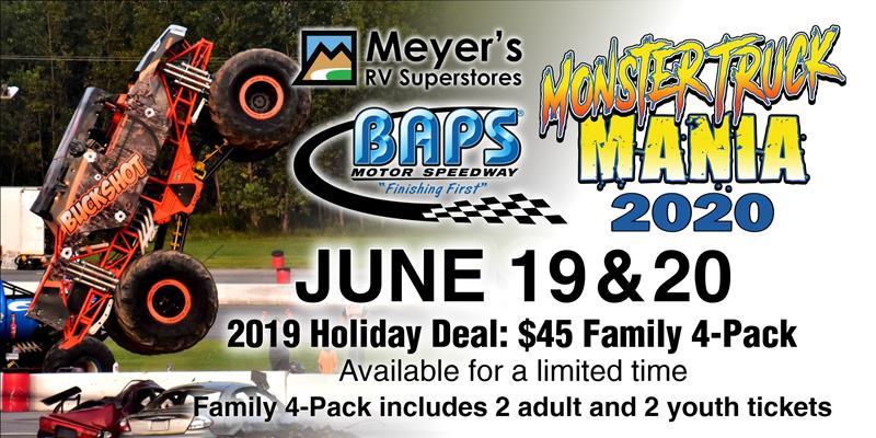 45 Family 4 Pack On Sale For 2020 Monster Truck Mania Baps Motor Speedway